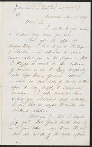 Thomas Wentworth Higginson autograph letter signed to Samuel Gridley Howe, Worcester, 15 November 1859