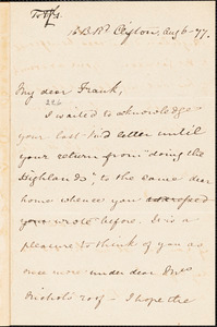 Letter from Mary Anne Estlin, Clifton, [England], to Francis Jackson Garrison, 1877 Aug[ust] 6