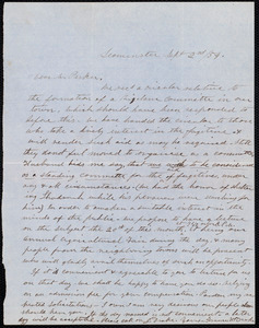 Letter from Frances H. Drake, Leominster [Mass.], to Theodore Parker, Sept. 2nd / [18]54