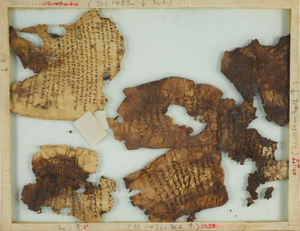Fragment No. 1: A small portion of The Psalter (Ps. XLIII, 24ff) on three pieces of vellum