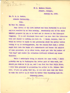 Letter from Thomas J. Calloway to W. E. B. Du Bois