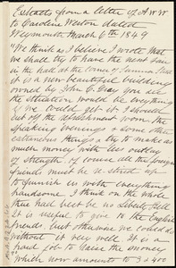 Extracts from a letter from Anne Warren Weston, Weymouth, [Mass.], to Caroline Weston, March 6th, 1849