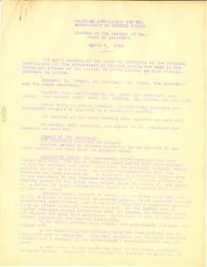 Thumbnail for NAACP Minutes of the Meeting of the Board of Directors