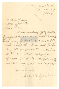 Letter from Idabelle Yeiser to Editor of the Crisis