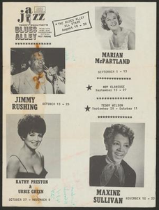 Advertisement for jazz artists at Blues Alley