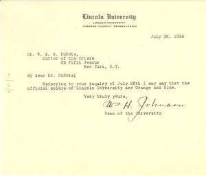Letter from Lincoln University to W. E. B. Du Bois