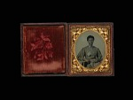 Ambrotype of African American Woman with Flag