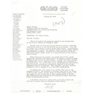 Letter, Miguel Torrado, January 25, 1975.