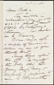 Letter from Henry Grafton Chapman, [New York], to Deborah Weston, Oct. 11, 1861