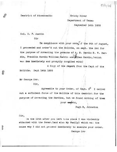 Transcript of letter from George Orr to Stephen F. Austin, September 14, 1828 Austin Papers: Series IV, 1828-1829