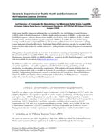 An overview of Colorado air regulations for municipal solid waste landfills : includes federal new source performance standards 40 CFR Part 60 subpart Cc and subpart WWW