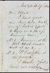 Letter from Richard Warren Weston, New York, to Deborah Weston, 22 Sept. 1864