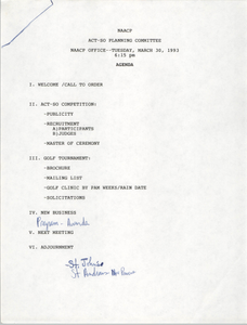 Agenda, ACT-SO Planning Committee, NAACP, March 30, 1993