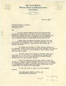 Letter from North Harlem Medical, Dental and Pharmaceutical Association to Warren G. Harding