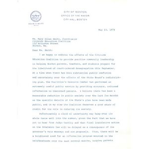 Letter, Mary Ellen Smith, May 13, 1974.