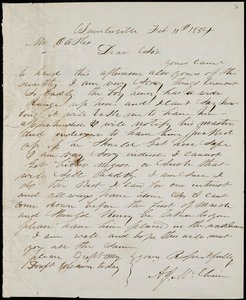 A. J. McElveen, Sumterville, S.C., autograph letter signed to Ziba B. Oakes, 11 February 1854