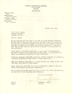 Letter from National Occupational Conference to W. E. B. Du Bois