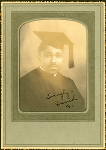 Unidentified African American man in academic gown and cap
