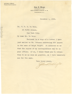 Letter from John. R. Wright to W. E. B. Du Bois