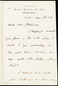 Letter from James Miller M'Kim, [New York], to Maria Weston Chapman, June 7th, 1865