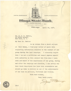 Letter from Jesse Binga to W. E. B. Du Bois