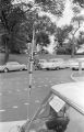 """Confederate flag and """"Alabama Militia Volunteers"""" decal on a car parked in front of the Capitol in Montgomery, Alabama, during a visit by Attorney General Robert Kennedy."""