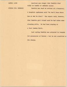 News Script: Jimi Hendrix death NBC News Scripts