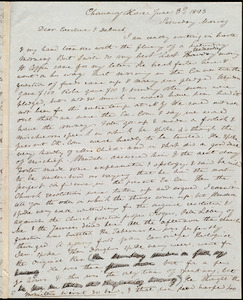 Letter from Anne Warren Weston, Chauncy Place, [Boston], to Caroline Weston and Deborah Weston, June 3'd, 1843, Sunday Morning