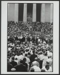 [Crowd scene at the Lincoln Memorial during the March on Washington, August 28, 1963, with Martin Luther King, Jr. at the podium and the Lincoln statue in the background]