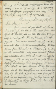 Letter from William Lloyd Garrison, Roxbury, [Mass.], to Fanny Garrison Villard, Nov. 26, 1876