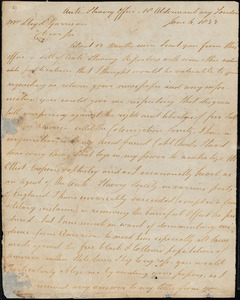 Letter from Joseph Phillips, Anti-Slavery Office, 18 Aldermanbury, London, [England], to William Lloyd Garrison, 1832 June 6