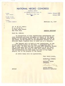 Letter from National Negro Congress Manhattan Council to W. E. B. Du Bois