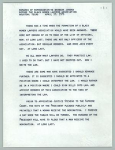 Remarks of Representative Barbara Jordan Before the Black Women Lawyers Association Texas Senate Papers