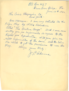 Letter from J. P. Adams to Crisis