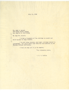 Letter from W. E. B. Du Bois to Jack S. Schell
