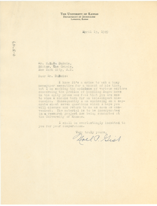 Letter from Noel P. Gist to W. E. B. Du Bois