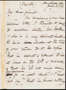 Letter from Harriet Martineau, Ambleside, [England], to William Lloyd Garrison, July 21 / [18]67