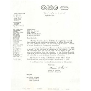Letter, Citywide Educational Coalition, April 8, 1980.
