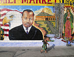 MLK, Jr. mural at Illa Family Market, 50 Place and South Vermont Avenue, Los Angeles, 2004