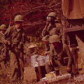 Soldiers on a meal break at the U.S. Army training facility at Fort McClellan near Anniston, Alabama.