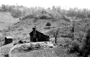 An unidentified log cabin.
