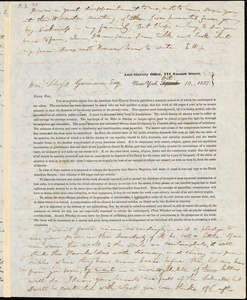 Letter from Elizur Wright, New York, [New York], to William Lloyd Garrison, 1837 Oct[ober] 10