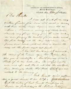 Assistant Quartermaster H. C. Garsonall Letter