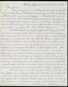 Letter from Lydia Maria Child, Boston, Massachusetts, October 30th 1861