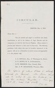 Thomas Wentworth Higginson circular letter, Boston, 2 November 1859