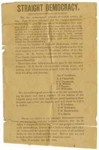 [Straight Democracy, November 6, 1888] Charles B. Moore Family papers, 1832-1917