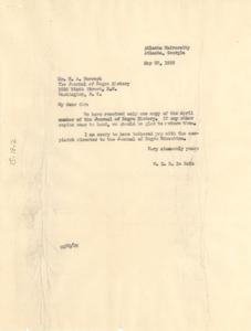 Letter from W. E. B. Du Bois to Journal of Negro History