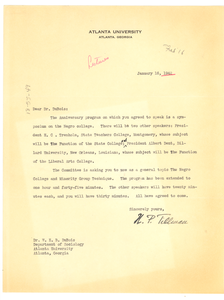 Letter from Nathaniel P. Tillman to W. E. B. Du Bois