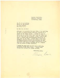 Letter from Allison Davis to W. E. B. Du Bois