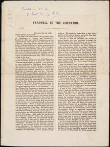 Thumbnail for Letter from William Cooper Nell, Boston, [Massachusetts], to William Lloyd Garrison, 1865 Oct[ober] 21